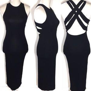 ASOS • bodycon sleeveless strappy back midi dress